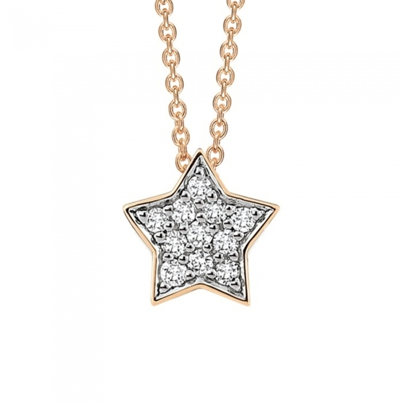 Ginette NY Tiny Diamond Star Necklace Jewelry