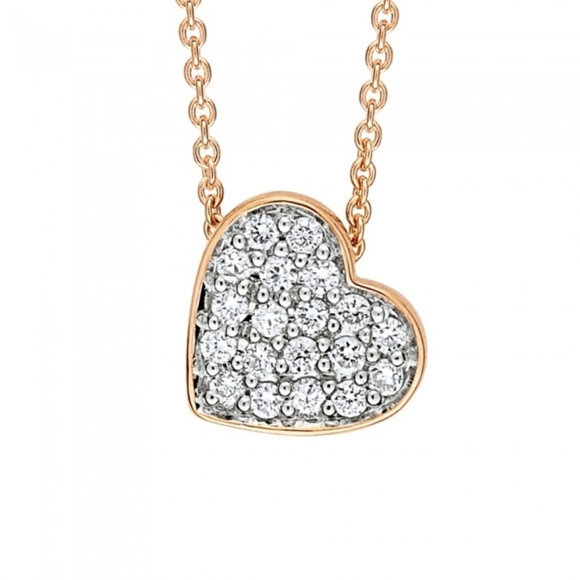 Ginette NY Tiny Diamond Heart Necklace Jewelry