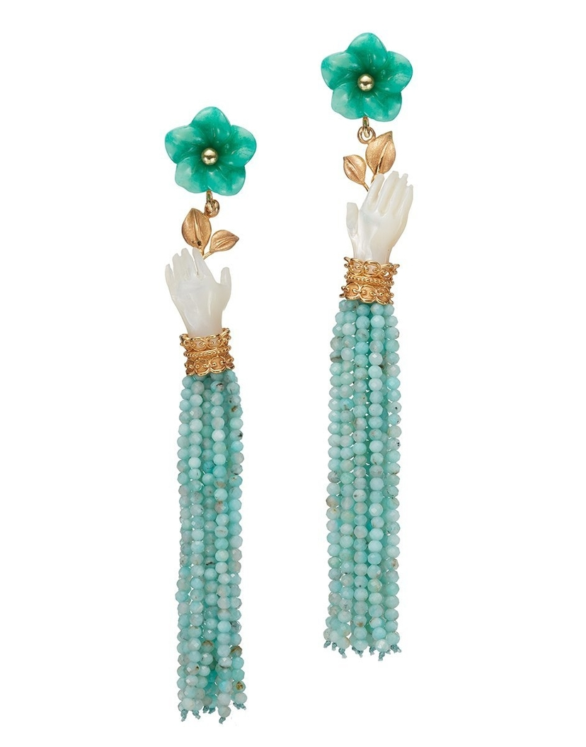 Of Rare Origin Bloom Earrings in Pearl and Mint Jewelry