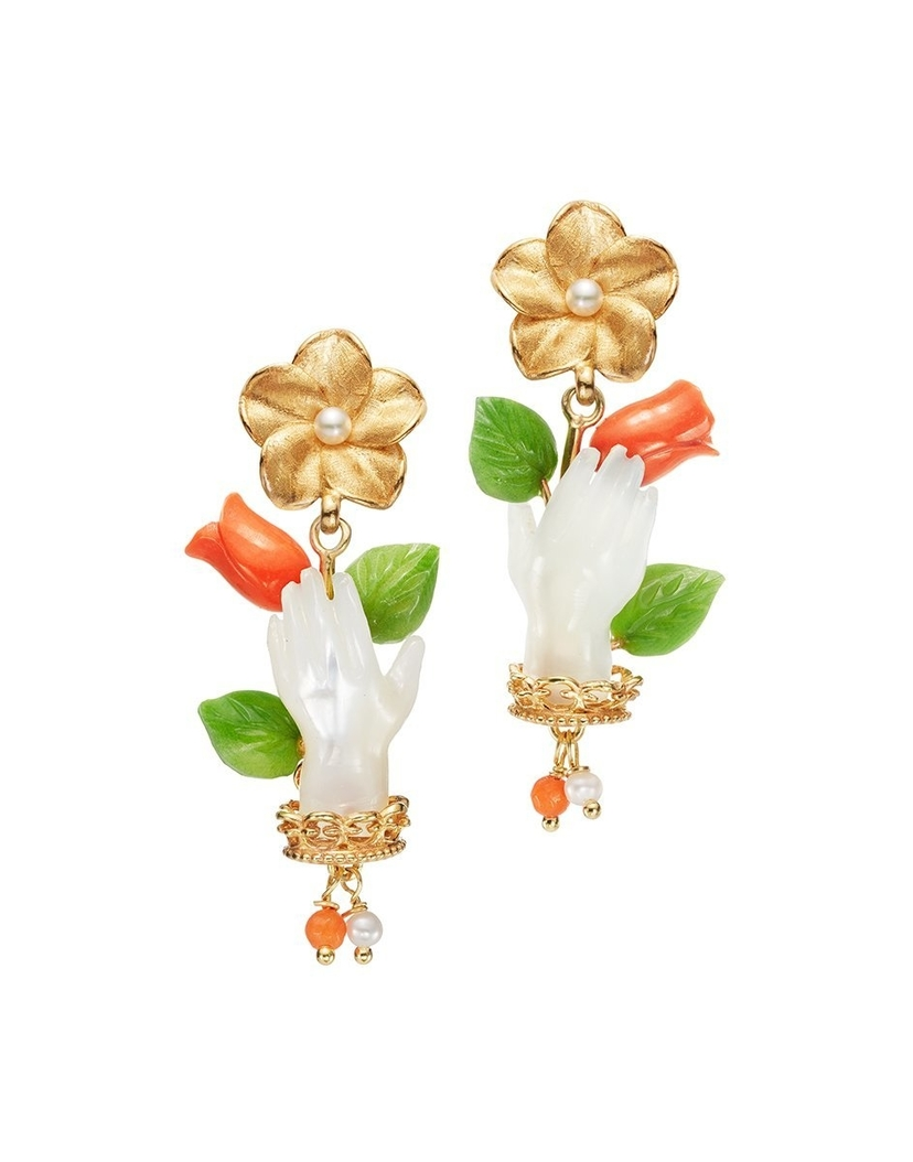 Of Rare Origin Bud Earrings in Pearl and Coral Gifts Jewelry