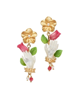 Of Rare Origin Bud Earrings in Pearl and Fuchsia Gifts Jewelry