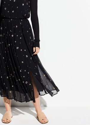 Vince Metallic Embroidery Skirt Skirts