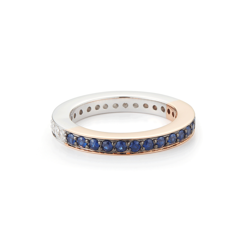 Walters Faith Two Tone Diamond & Sapphire Band Ring Jewelry