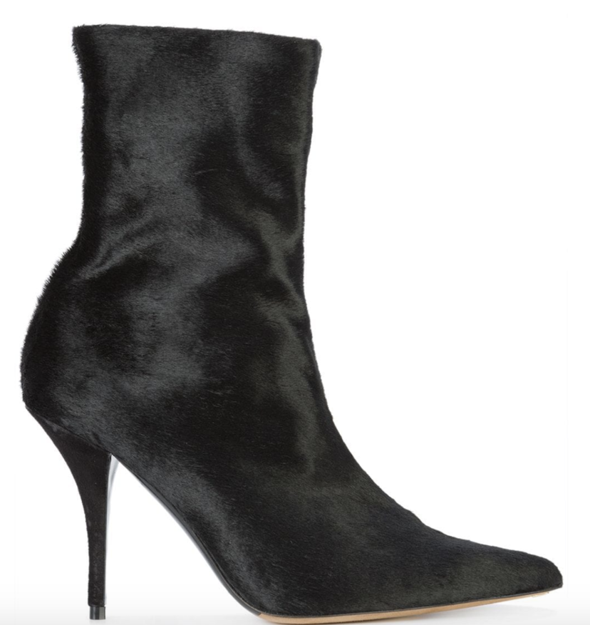 Tabitha Simmons Stretch Black Calf Hair Booties Sale Shoes