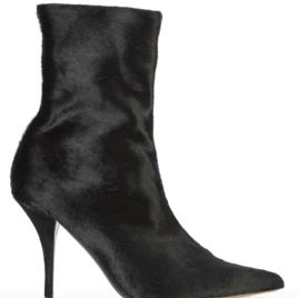 Stretch Black Calf Hair Booties