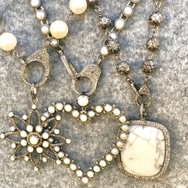 Pearl, Howlite, Diamond Pendants
