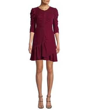 Rebecca Taylor Ruched Sleeve Velvet Dress Dresses