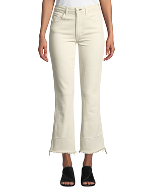 AMO Bella High-Rise Flare-Leg Jeans with Released Hem Pants