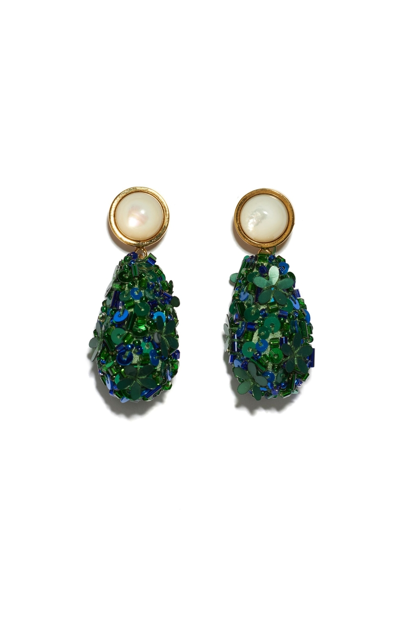 Lizzie Fortunato Roman Party Earrings In Emerald Jewelry