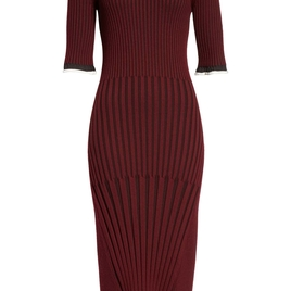 Maroon Ribbed Dress