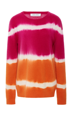 Prabal Gurung Tie-Dye Striped Cashmere Sweater Tops