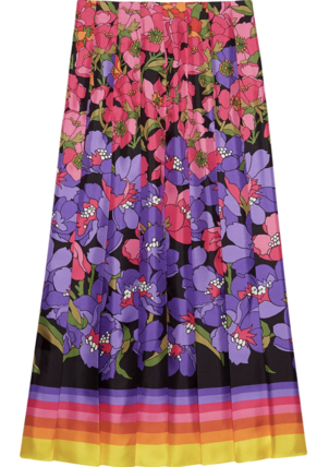 Gucci Pleated Floral Skirt Skirts