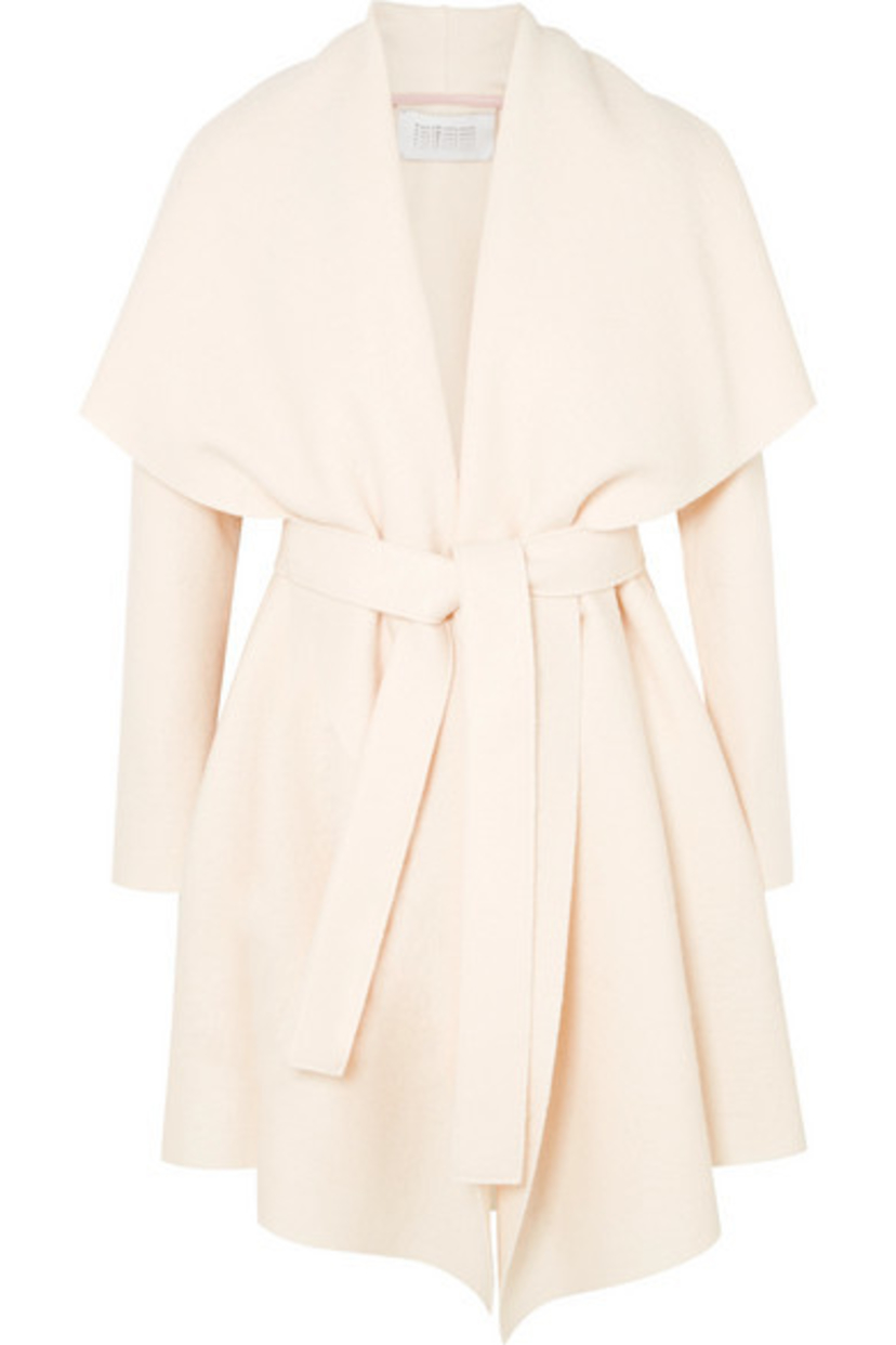 Harris Wharf London Belted Wool Felt Coat - Cream Gifts Outerwear