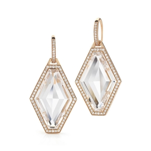 Walters Faith Rose Gold, Diamond & Rock Crystal Hexagon Earring Jewelry
