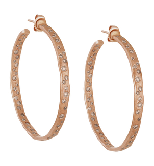 LJ Cross ROSE GOLD COBBLESTONE HOOPS Jewelry