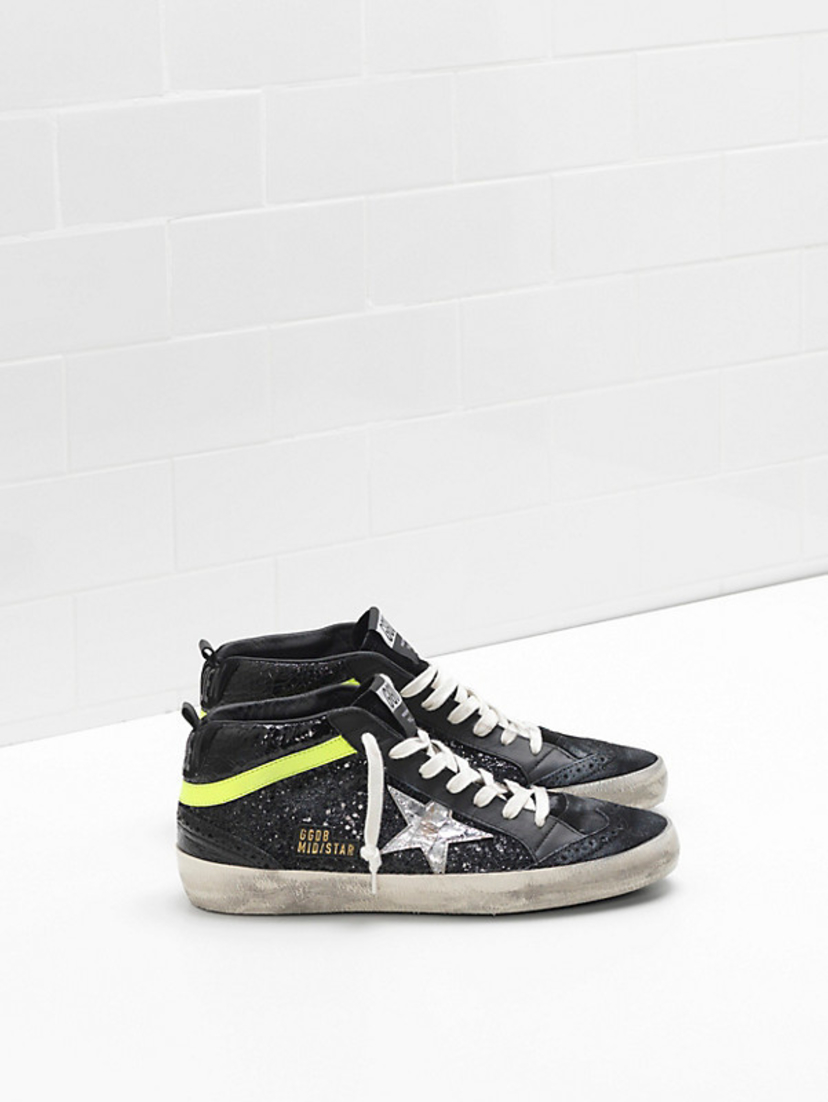 Golden Goose Deluxe Brand Mid Star - Black Glitter, Silver Star, with Green Stripe Shoes