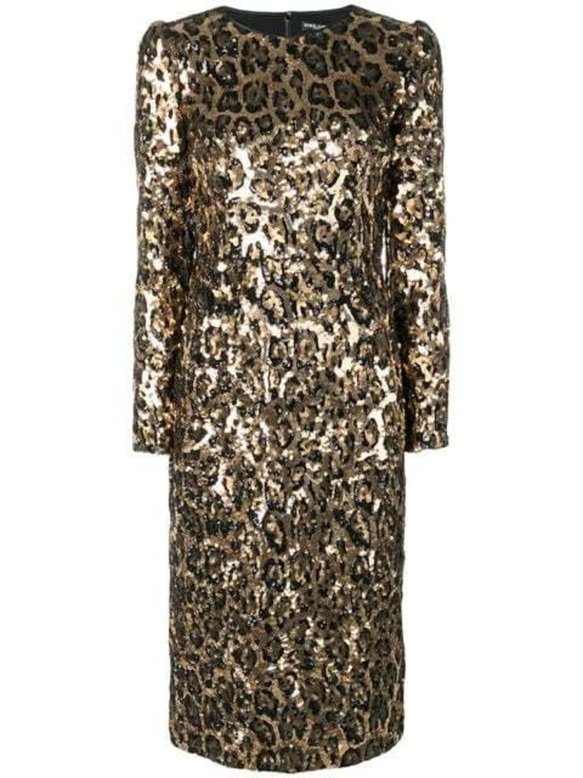 Dolce & Gabbana Dolce and Gabbana - Sequined Leopard-Print Midi Dress Dresses