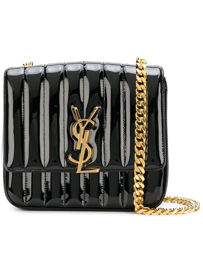 Saint Laurent Saint Laurent - Black Patent Vicky Crossbody Bag Bags