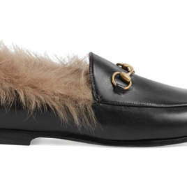 Black Leather Loafers with Fur (Originally $1,100)