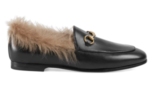 Gucci Black Leather Loafers with Fur (Originally $1,100) Sale Shoes