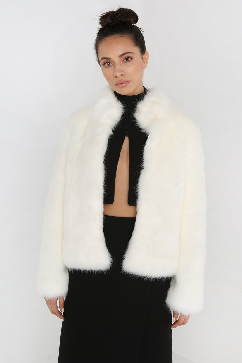 UnrealFur Fur Delicious Jacket in Ivory Outerwear