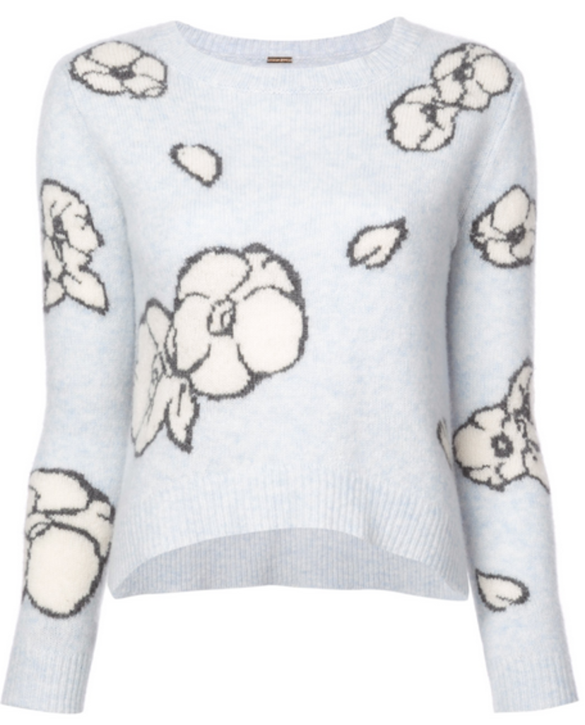 Adam Lippes BRUSHED CASHMERE FLORAL INTARSIA SWEATER Sale Tops