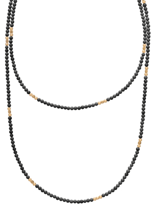 "E Newton Medici Hematite 41"" necklace 3mm bead Jewelry"