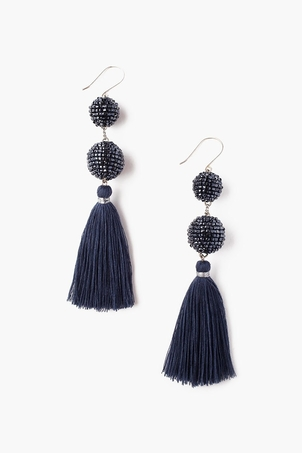 Chan Luu Double Tiered Beaded Ball and Tassel Earring Jewelry