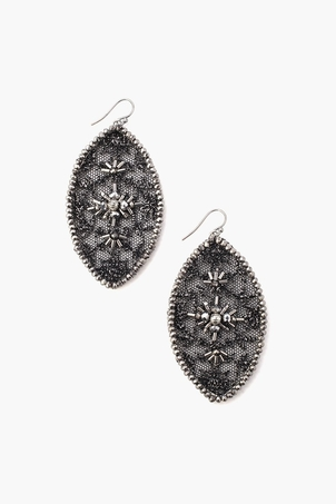 Chan Luu Black Mix Lace & Crystal Earrings Jewelry