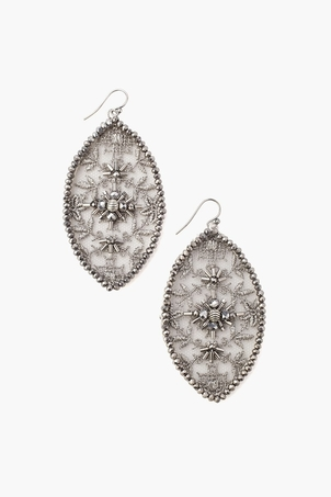 Chan Luu Lace & Crystal Silver Grey Earring Jewelry