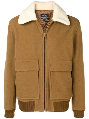 A.P.C. BRONZE BOMBER WITH SHEARLING COLLAR (ORIGINALLY $645) Men's