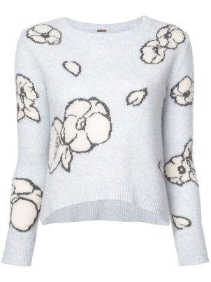 Adam Lippes Cashmere Knit Floral Intarsia Sweater Tops
