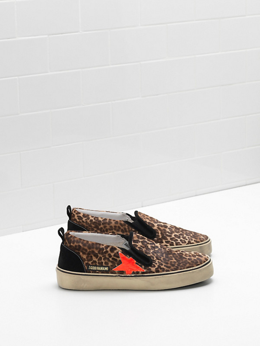 Golden Goose Deluxe Brand Leopard Print Hanami Sneaker with Orange Star Shoes