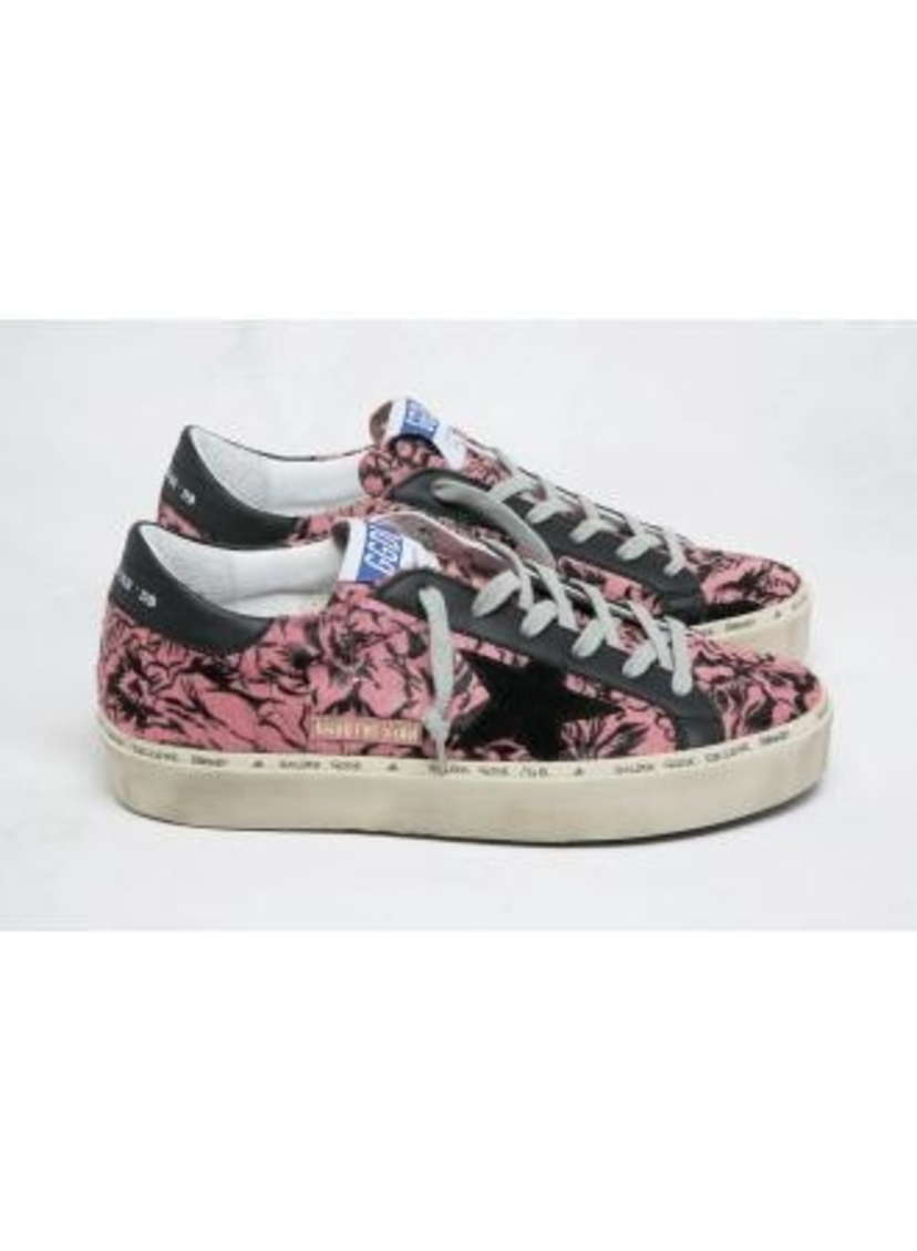 Golden Goose Deluxe Brand Golden Goose Hi-Star Pink Rose Printed hide Shoes