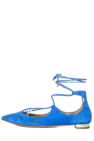 Aquazzura Aquazzura Blue Suede Pointed-Toe Flats SZ 39.5 Sale Shoes