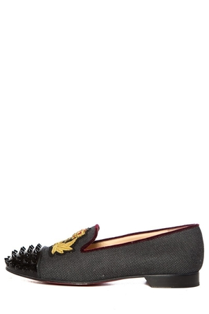 Christian Louboutin Christian Louboutin Charcoal Woven Round-Toe Loafers SZ 39.5 Sale Shoes