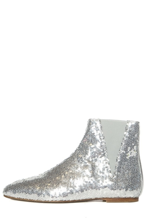 Loewe Loewe Silver All-Over Sequin Boots SZ 40 Sale Shoes