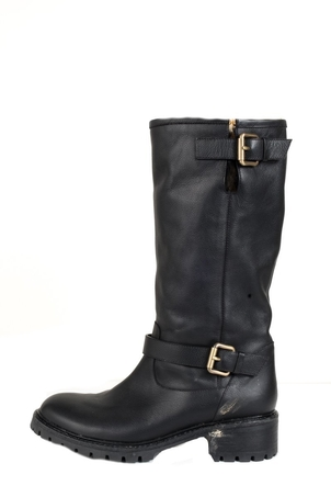 Fendi Fendi Black Leather Mid-Calf Boots 38 Shoes