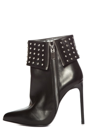 Saint Laurent Saint Laurent Black Leather Studded Booties Sz 39 Shoes