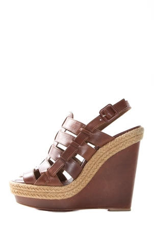 Christian Louboutin Christian Louboutin Cognac Leather Wedge Sandals SZ 38 Sale Shoes