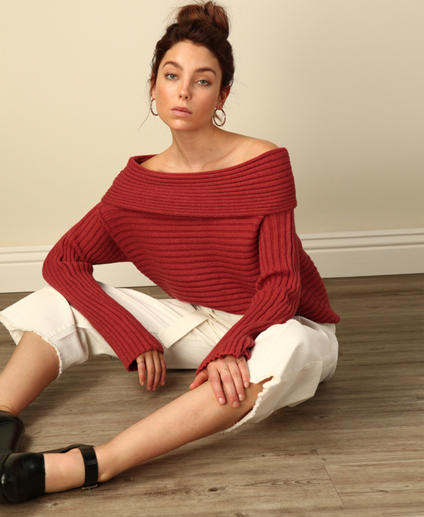 Line & Dot Benigna Off Shoulder Sweater Tops