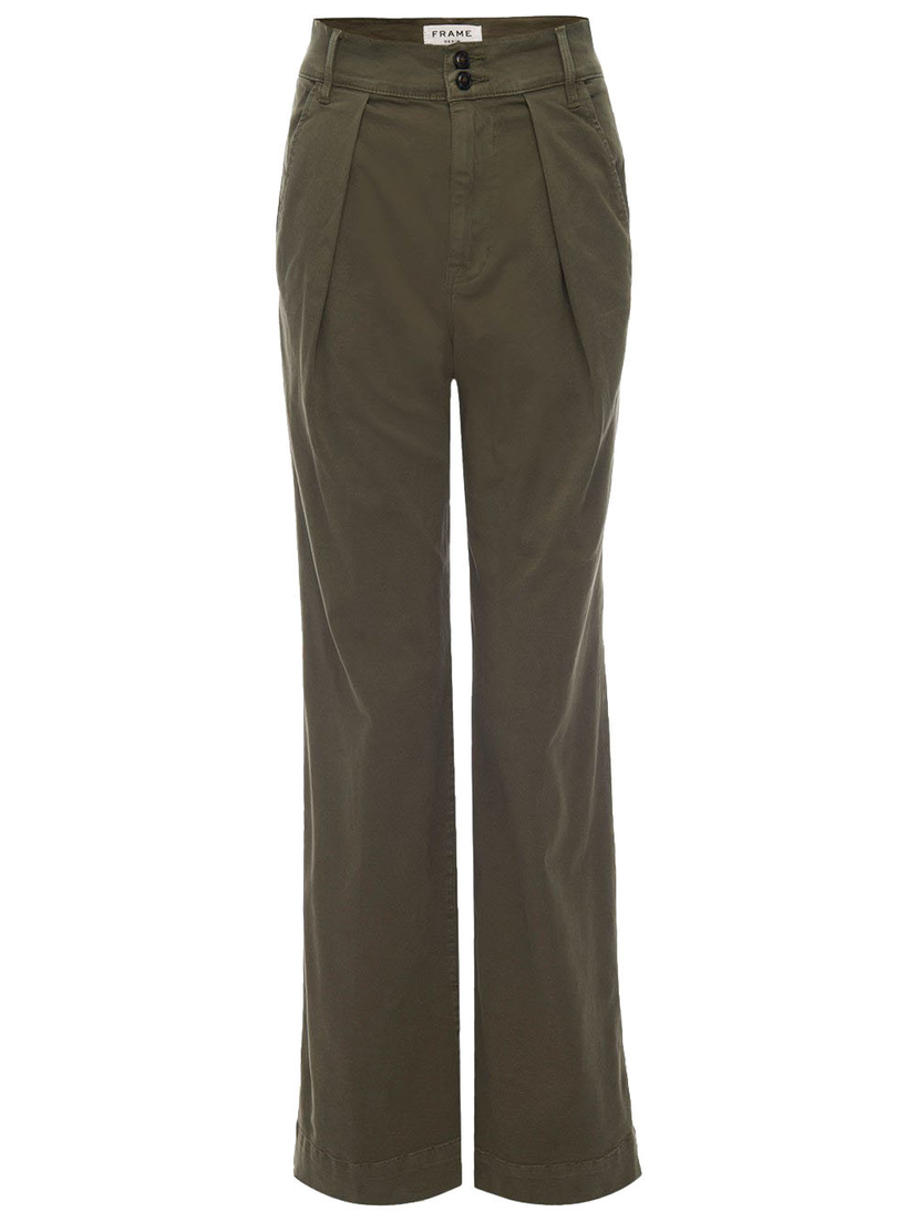 FRAME Wide Straight Trousers in Army Green Pants