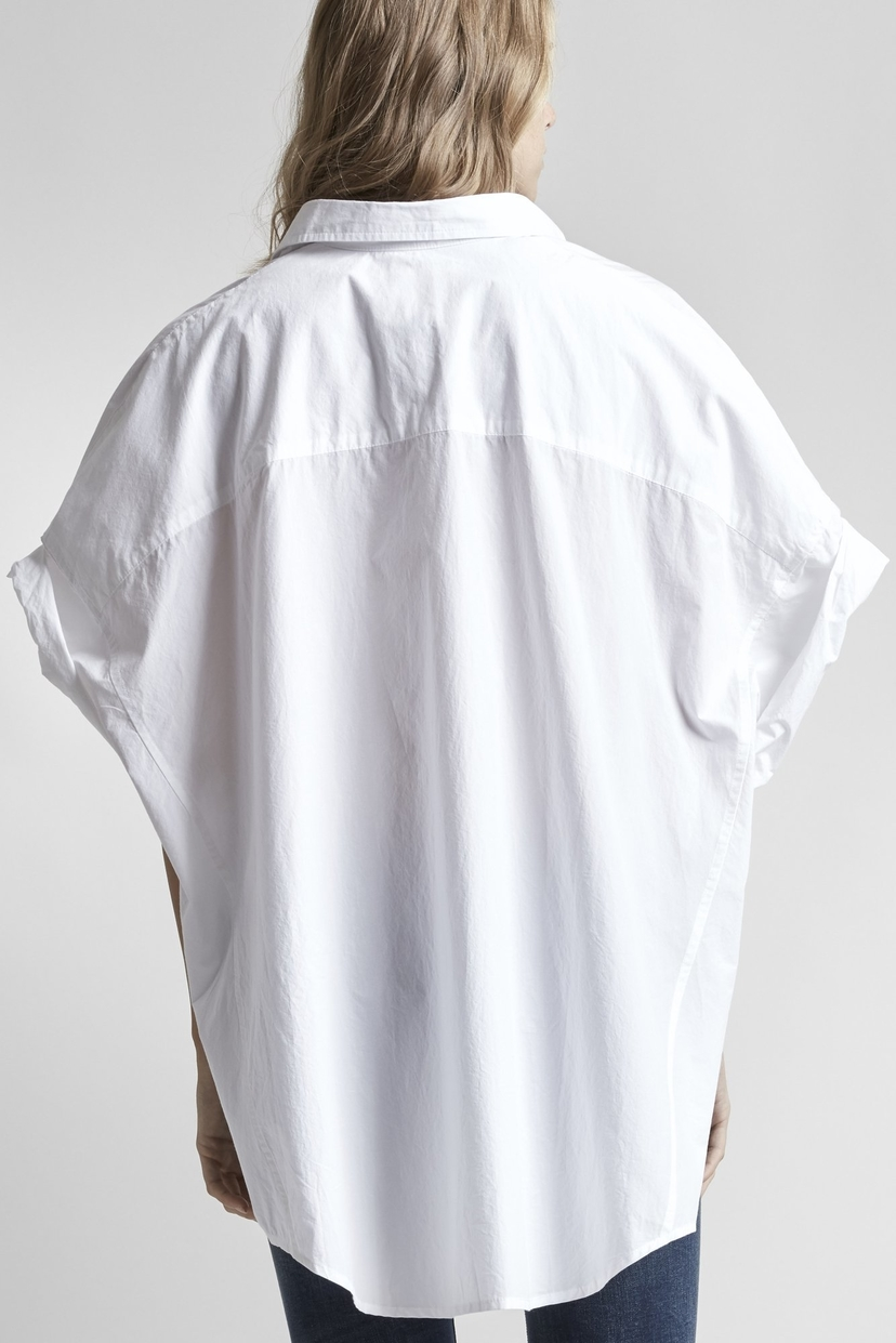 R13 Oversized Rolled-Sleeve Shirt-White Tops