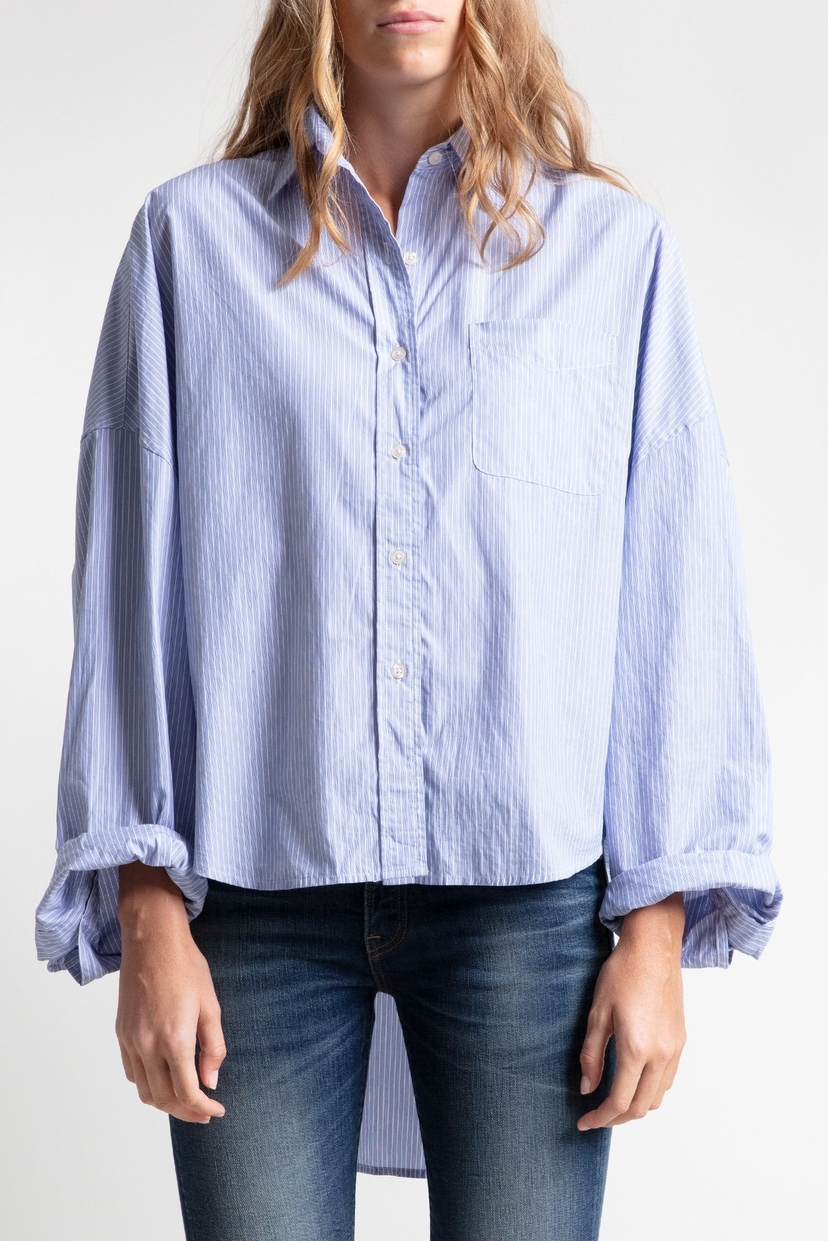 R13 Oversized Shirt - Blue Stripe Tops