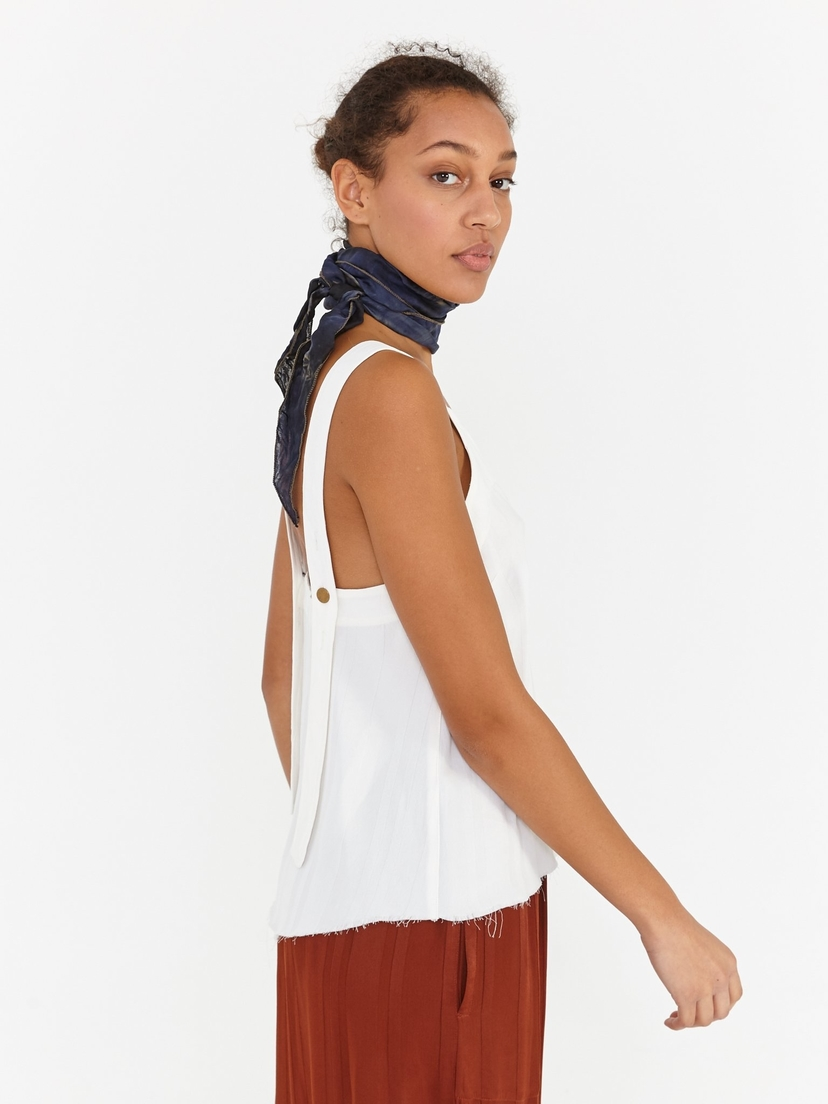 Raquel Allegra Ivory Stripe Button Strap Tank Tops