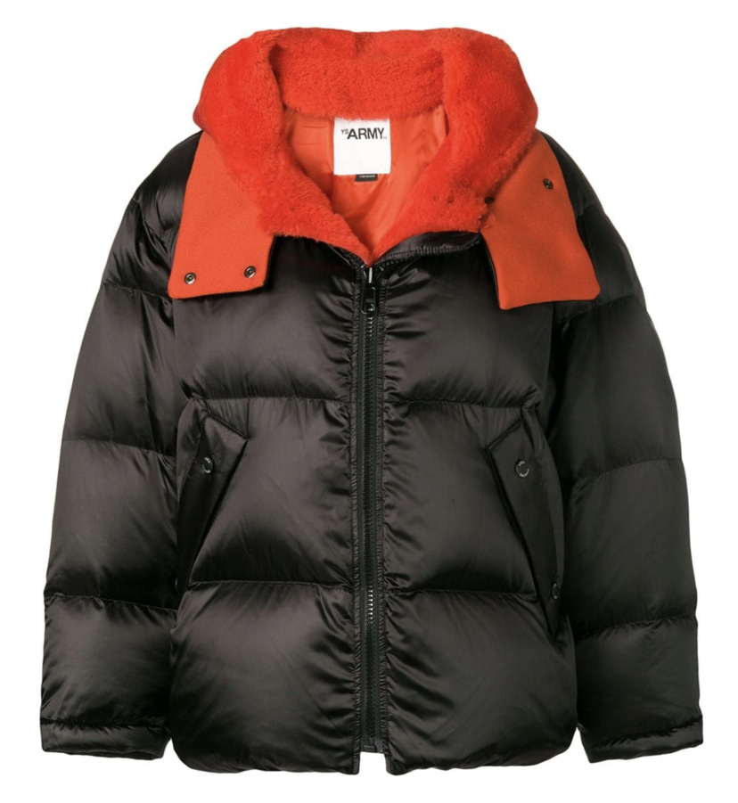 Yves Salomon Black Puffer Coat with Red Lamb Lining Outerwear