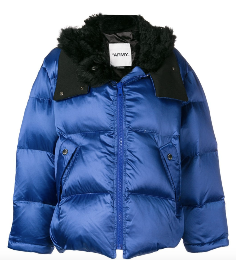 Yves Salomon Blue Puffer Coat with Black Lining Outerwear