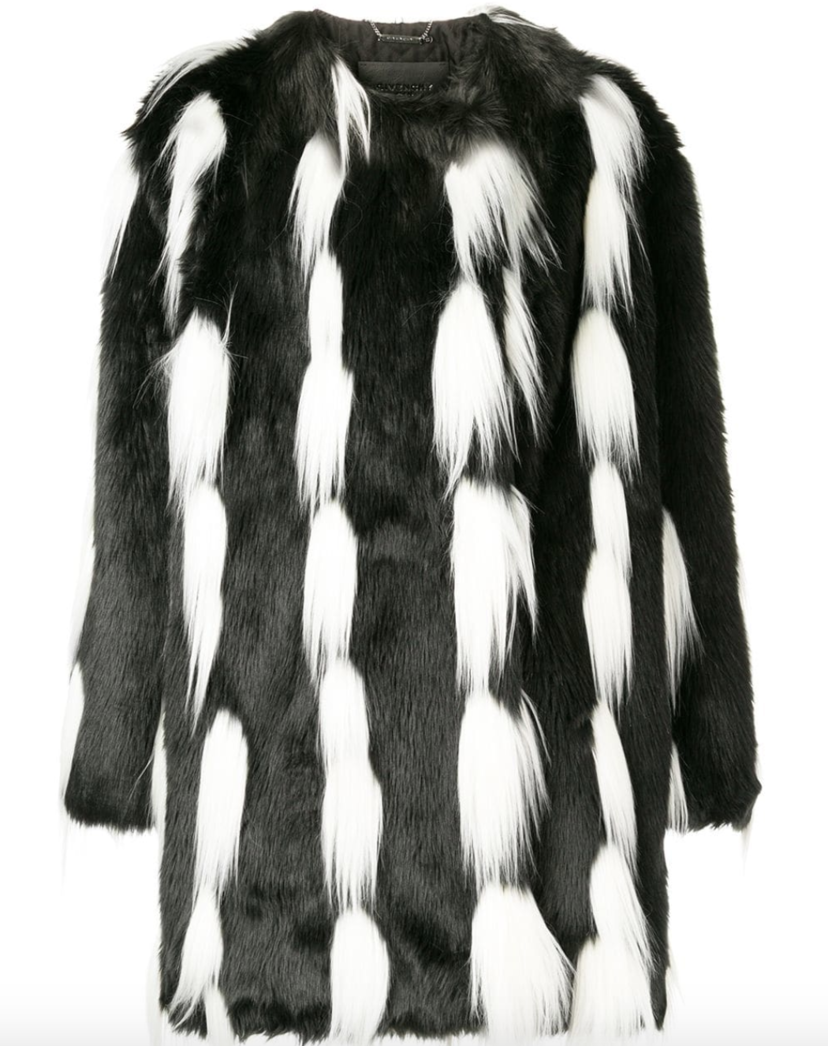 Givenchy Black and White Faux Fur Coat  (Originally $3445) Outerwear