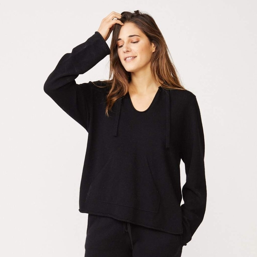 MONROW Monrow Cashmere Blend Hooded Sweater Tops
