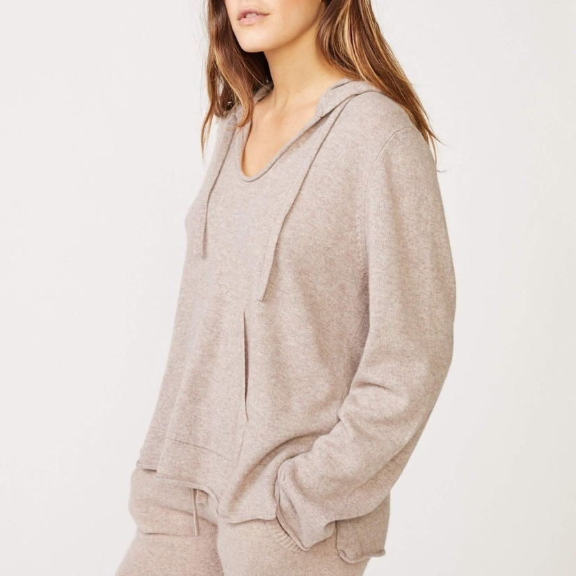 MONROW Cashmere Blend Hooded Sweater Tops